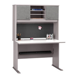 "BBF - Bush Series A 48"" Computer Desk with Hutch in Pewter - Bush - Office Sets - WC14548PKG1 - Bush Series A 48"" Hutch in Pewter (included quantity: 1)  The generous Bush Series A Collection 48"" Hutch sits atop the Bush 48"" Desk (sold separately), turning an efficient workspace into a private haven. This towering hutch gives you both improved storage capacity and peace of mind as you work.  Features:"
