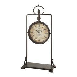 "Crestview - Crestview CVCKA561 Adrianne Table Clock - Adrianne Table Clock Adrianne Table Clock 11""W x 5""D x 22""H;Metal Aged Metal Finish  11""W x 5""D x 22""H"