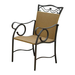 International Caravan - Patio Chairs - Set of 2 - Set of 2. Deep seated comfort. Water resistant. UV light fading protection against harsh weather. Coated brown matte frame. Made from wicker resin and steel frame. Honey pecan finish. Assembly required. 26 in. W x 26 in. D x 39 in. H (22 lbs.)A perfect accent piece for any garden, sunroom, or patio in your home.