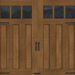 Canyon Ridge Collection Limited Edition Series - Wood Garage Door Look-Alike. Designed for homeowners who love the look of wood but not the upkeep, Clopay's Canyon Ridge Collection Limited Edition Series offers the best of both worlds: the realism, design flexibility and beauty of wood along with the benefits of a low-maintenance, energy-efficient, insulated steel garage door. Unlike real wood, the door is moisture resistant, so it won't rot, split, shrink, separate, or crack. The cladding is molded from real wood boards to duplicate the natural texture and grain patterns to give each door one-of-a-kind character. The surface can be painted or stained. Doors shown: Clopay Canyon Ridege Collection Limited Edition Series, Design 13 with Mahogany cladding and overlays, factory-stained in a Dark finish.