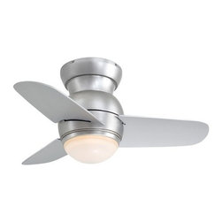"Minka Lavery - Minka Lavery | Spacesaver Ceiling Fan - Contemporary styling and superb air circulation makes the Spacesaver ceiling fan from Minka Aire the perfect fan for kitchens, food preparation areas, bathrooms, walk-in closets and hallways. The Spacesaver, pictured in brushed steel, is also available in white and oil rubbed bronze finish and features a lifetime manufacture warranty. The flush mount fan has three blades with a 14° pitch and is ideal for low ceiling environments with a total height of 10.75"". Includes 50W Mini Can Halogen bulb and Four Speed Full Range Dimmer 3-Wire Wall Control."