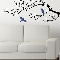 Cherry Walls - Lovely Birds on a Cherry Branch Decal - Cherry blossoms are symbols of hope and renewal. Give your home a fresh new look with this uplifting decal set, complete with two elegant birds — one perched on a branch, the other in flight.