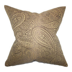 """The Pillow Collection - Cashel Paisley Pillow Brown 18"""" x 18"""" - Transform your living room or bedroom into a stylish retreat with this throw pillow. This accent pillow features a rich paisley pattern in a lovely brown color palette. Finish off your sofa, bed or seat by pairing this 18"""" pillow with solids and other patterns. Constructed with a blend of 65% cotton and 35% polyester. Hidden zipper closure for easy cover removal.  Knife edge finish on all four sides.  Reversible pillow with the same fabric on the back side.  Spot cleaning suggested."""