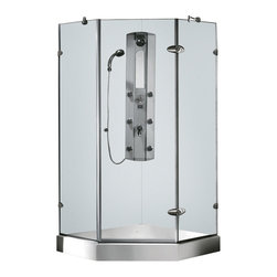 Vigo Industries - Neo-Angle Shower Enclosure with Base - Single pivot door for wide and easy access.