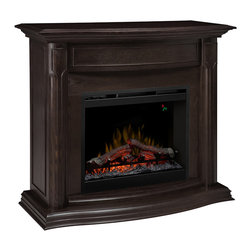 "Dimplex - Dimplex Gwendolyn Espresso Electric Fireplace Mantel Package - The Dimplex Gwendolyn Espresso Electric Fireplace Mantel Package is the epitome of grace and elegance with its subtle carved detailing. This beautiful fireplace will completely transform your room with its attention-grabbing presence. You'll love watching the dancing flames as they appear to rise from within the LED lit glowing log set, creating the strong illusion of a real wood-burning fireplace. Be prepared for all the compliments you'll receive for this stunning fireplace mantel and its realistic flames. Staying warm during the coolest months won't be an issue with the Gwendolyn. The strong fan-forced heater creates supplemental warmth for areas up to 400 Sq. Ft. Using the digital thermostat makes it easy to set the desired temperature, while you let the unit take care of the rest - it will cycle on and off in order to maintain the desired temperature. As an added convenience, a hand-held remote is included for ease of operation. Bring instant ambiance to your family room, dining room or bedroom with the Gwendolyn Electric Fireplace Mantel Package. Product Dimensions: 47.75"" Wide x 43.75"" High x 16"" Deep"