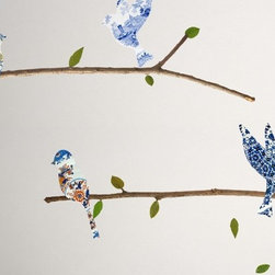 Walls Need Love - China Plate Birds & Branches Decals - The birds and branches are printed as separate pieces on our Fab-Tac material, so you can remove and reposition them until you get the layout just right.