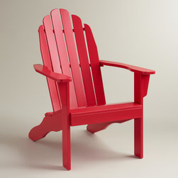 World Market - Barbados Cherry Adirondack Chair - Built for comfort, our exclusive cherry red Adirondack chair invites resplendent relaxation with its wide, slanted seat. Updated with denser, thicker acacia wood construction, this colorful, iconic chair brings a timeless look to your outdoor lounging area.