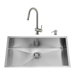 """VIGO Industries - VIGO All in One 32-inch Undermount Stainless Steel Kitchen Sink and Faucet Set - Revitalize the look of your kitchen with a VIGO All in One Kitchen Set featuring a 32"""" Undermount kitchen sink, faucet, soap dispenser, matching bottom grid and sink strainer."""