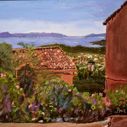 "A French Perspective (Original) By Rex Maurice Oppenheimer - This is from when I was in Borme Les Mimosas, a beautiful historic village in the South of France. As a dual American/French citizen, I am frequently in France and have a special attachment to the colors and textures of the South of France and Paris as well. The villages have a ""handmade"" look  and a gentle sense of belonging that speaks to human habitation for centuries."