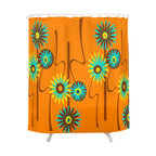 Crash Pad Designs - Mid Century  Modern Shower Curtain - Alastair - For a totally mod take on the standard floral pattern, hang these funky flowers in your shower! This stylish curtain is made from 100 percent polyester, and features 12-stitched button holes for hanging.