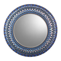 "Round Mosaic Mirror - Blue & Silver (Handmade), 30.5"" - MIRROR DESCRIPTION"