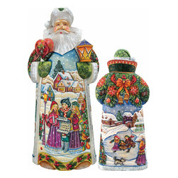 "Artistic Wood Carved Holiday in Harmony Santa Claus Sculpture - Measures 14""H x 7.5""L x 4""W and weighs 5 lbs. G. DeBrekht fine art traditional, vintage style sculpted figures are delightful and imaginative. Each figurine is artistically hand painted with detailed scenes including classic Christmas art, winter wonderlands and the true meaning of Christmas, nativity art. In the spirit of giving G. DeBrekht holiday decor makes beautiful collectible Christmas and holiday gifts to share with loved ones. Every G. DeBrekht holiday decoration is an original work of art sure to be cherished as a family tradition and treasured by future generations. Some items may have slight variations of the decoration on the decor due to the hand painted nature of the product. Decorating your home for Christmas is a special time for families. With G. DeBrekht holiday home decor and decorations you can choose your style and create a true holiday gallery of art for your family to enjoy. All Masterpiece and Signature Masterpiece woodcarvings are individually hand numbered. The old world classic art details on the freehand painted sculptures include animals, nature, winter scenes, Santa Claus, nativity and more inspired by an old Russian art technique using painting mediums of watercolor, acrylic and oil combinations in the G. Debrekht unique painting style. Linden wood, which is light in color is used to carve these masterpieces. The wood varies slightly in color."