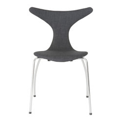 Euro Style - Frida Side Chair (Set Of 4) - Dark Gray Fabric/Chrome - If you took an x-ray of a seated person and determined precisely where a body needs support to be comfortable, you would design this chair. Upper wings for shoulder support, a gentle curve for your lower back and a smooth all-day-seat. The Frida.