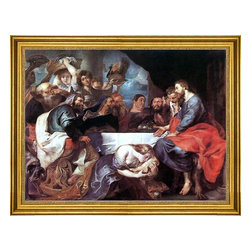 """Peter Paul Rubens-18""""x24"""" Framed Canvas - 18"""" x 24"""" Peter Paul Rubens Christ at Simon the Pharisee framed premium canvas print reproduced to meet museum quality standards. Our museum quality canvas prints are produced using high-precision print technology for a more accurate reproduction printed on high quality canvas with fade-resistant, archival inks. Our progressive business model allows us to offer works of art to you at the best wholesale pricing, significantly less than art gallery prices, affordable to all. This artwork is hand stretched onto wooden stretcher bars, then mounted into our 3"""" wide gold finish frame with black panel by one of our expert framers. Our framed canvas print comes with hardware, ready to hang on your wall.  We present a comprehensive collection of exceptional canvas art reproductions by Peter Paul Rubens."""