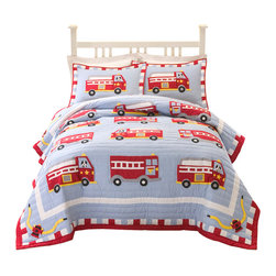 Pem America - Cotton Fire Truck Twin Quilt with Pillow Sham - Antique fire trucks for your little fire fighter.  The fire trucks are hand sewn to the quilt with a cooling blue background and bright red firetrucks.  The face of the quilt feature a white frame on the deck and edged in a dramatic red.  Look closely and you will see playful Dalmatians along for the ride! Hand crafted quilt set includes 1 twin quilt (68x86 inches) and 1 standard sham (20x26 inches). Face cloth and fill are 100% natural cotton.  Prewashed for out of the bag comfort. Hand crafted with embroidery. Machine Washable.