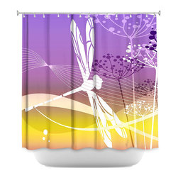 DiaNoche Designs - Shower Curtain Artistic - Flight Pattern II - DiaNoche Designs works with artists from around the world to bring unique, artistic products to decorate all aspects of your home.  Our designer Shower Curtains will be the talk of every guest to visit your bathroom!  Our Shower Curtains have Sewn reinforced holes for curtain rings, Shower Curtain Rings Not Included.  Dye Sublimation printing adheres the ink to the material for long life and durability. Machine Wash upon arrival for maximum softness. Made in USA.  Shower Curtain Rings Not Included.