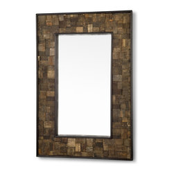 Kathy Kuo Home - Hideout Rustic Lodge Reclaimed French Wine Barrel Staves Mirror - Reclaimed French wine barrel staves are layered to form a unique frame around our rustic rectangular mirror. Each one-of-a-kind piece is handcrafted for an eclectic addition to a dining room, sitting room or wine cellar.