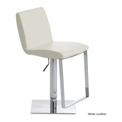 Nuevo Living - Lewis Adjustable Stool, Set of 2, White Leather - This eye-catching contemporary stool wears Naugahyde (or leather) with pride! You'll have a plump, curved seat and back to sit comfortably on, with the adjustable seat height taking the guesswork out of finding the right stool for your table, bar or counter.