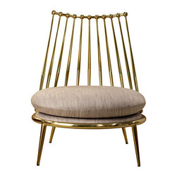 Aurora Armchair - This lovely chair comes in a brass or copper finish, and though a bit low, it makes a really stunning occasional chair for the bedroom or boudoir.