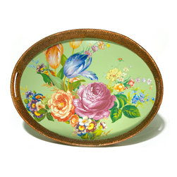 Flower Market Rattan & Enamel Party Tray - Green | MacKenzie-Childs - An ample tray for breakfast in bed, a garden party or your personal carry-out, the Flower Market Rattan & Enamel Party Tray begs no occasion, but suits casual and formal fetes alike. Color glazed in black, blue, green or white, each Flower Market Rattan & Enamel Party Tray is decorated with hand-applied fanciful botanical transfers that recall a lush English garden in the peak of summer. As handy as it is handsome, the rattan-accented entertaining tray is perfect for year-round use and just the excuse you needed to host a long-overdue get-together.