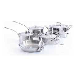 """Mauviel - Mauviel M' Cook 5-Ply Stainless 9-Piece Cookware Set - The Mauviel MCOOK collection has the highest resistance to warping of any ply cookware. MCOOK is made with a patented process giving you a magnetic Stainless Steel exterior, 3 layers of aluminum and magnetic Stainless Steel interior. This symmetry (exterior of the pot and interior of the pot having the same material make up) creates a very ridged cookware that will not warp when being used on INDUCTION. Induction works with magnets and magnetic fields. A pull and push is generated between the stove top and the magnetic SS surface of the cookware. This movement creates heat. If the cookware surface is not balanced or equal inside and outside the cookware can be pulled out of form or warps. Mcook will not warp on induction. Multi-layered 18/10 stainless steel provides a rapid, unform heat conduction and distribution. Noncorrosive Thickness: 1.6mm of aluminum plus 1mm of stainless steel for a total of 2.6mm thickness Polished outside finish Fixed by sturdy stainless steel rivets Stainless steel handles Suitable for electric, gas, halogen and induction cooktops Includes: M5210.15 Sauce Pan with lid 1.2 qt.. M5210.19 Sauce Pan with lid 2.7 qt., M5213.24 Round Frying Pan 9.5"""", M5211.26 Saute Pan with lid with helper Handle 3.4-qt., M5215.24 Stew Pan with lid 6.4 qt. Made in France."""