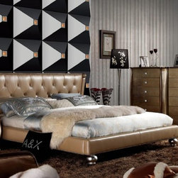 Extravagant Leather High End Bedroom Sets feat. Gold Upholstery - Golden Italian top leather bedroom with transitional nightstands. Furniture helps to embellish your loft in an astounding way. Amusing designs of furniture are very eye-catching and striking. Other pieces such as dresser, chest and nightstand are also available to complete the bedroom set.