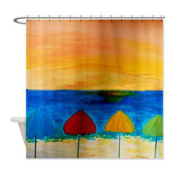 usa - Beach Umbrellas Shower Curtain - Beautiful shower curtains created from my original art work. Each curtain is made of a thick water resistant polyester fabric. The permanently applied art work appears on the front side with the inside being white. 12 button holes for easy hanging, machine washable and most importantly made in the USA. Shower rod and rings not included. Size is a standard 70''x70''