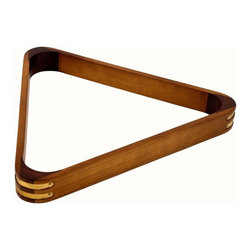 Trademark Global - Eight Ball Billiard Rack - Official size triangle rack for 2.25 in. balls. Reinforced brass corners. Made from wood. Oak finish. No assembly required. 11.5 in. L x 13 in. W x 1 in. H (1 lbs.)Ensure a perfect rack time after time with this stylish regulation size eight ball rack by Trademark Games.