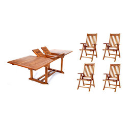 All Things Cedar - 5pc. Teak Oval Extension Table Folding Arm Chair Set - This 5pc. Promo Set Includes 1 TE90 Rectangle Extension Table + 4 TF44 Teak Folding Arm Chairs. Item is made to order.