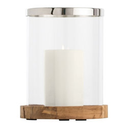 """Arteriors - Milena Hurricane, Small - These simple yet classic hurricanes feature reclaimed teak wood bases in combination with clear glass cylinders and polished stainless steel rims to protect the top edge.  Each size features a polished plate on the inside to catch any candle drips and reflect the light.  Use these as a set or consider running a single size down the center of a teak dining table outside.  Remember to bring inside after the party.  9"""" w x 9"""" d x 10 1/2"""" h  Medium: 10 1/2"""" w x 10 12"""" d x 15"""" h  Large: 12 1/2"""" w x 12 1/2"""" d x 20"""""""