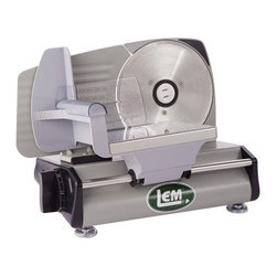 LEM 832 7.5 Inch Food Slicer - Waiting in line at the deli counter is a thing of the past with the LEM 832 7.5 Inch Food Slicer in your kitchen. A handy appliance this durable slicer features a cast steel base with aluminum die-cast housing. The 130-watt motor slices fruits vegetables cheese and meat from deli-thin up to .6-inches thick. Perfect for home use this slicer has a large 7 .5 x 6.5-inch carriage tray and 7.5-inch stainless blade that spins at 110 RPM. Safety features include rubber feet for stability and detachable hand guard/meat pusher. About LEM Products LLCLEM Products is a mail order online and wholesale company that sells meat-processing equipment supplies and seasonings for hunters and home processors to make jerky sausage and more. Based in Harrison Ohio LEM Products was founded in 1996 by Larry Metz an avid hunter and longtime meat cutter at a large food-service company. LEM offers more than 700 different products and has a presence in more than 600 retail stores throughout North America. The company is committed to providing high-quality products and exceptional service to its customers.
