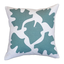 Balanced Design - Hand Printed Linen Pillow - Shade, Blue, 16 x 16 - This pillow's leaf silhouettes are like the shadows of leaves on a sunny sidewalk, putting a modern, graphic twist on a classic nature theme. The design is hand-printed on linen using water-based inks, and the pillow insert is made with fiber from recycled plastic bottles, giving you a product that's both stylish and earth-friendly.