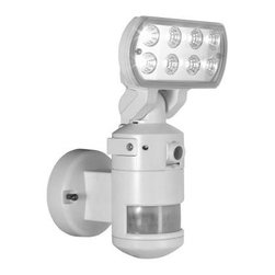 NightWatcher Security - NightWatcher Security 60 ft. 220-Degree Outdoor White Motion-Tracking LED Securi - Shop for Lighting & Fans at The Home Depot. This NightWatcher Security 60 ft. 220-Degree Outdoor White Motion-Tracking LED Security Light with Built-In Security Camera can follow motion across its 220-degree detection zone. When motion is detected, the on-board color camera begins recording to a built-in SD card, capturing each moment. The 8 Nichia Super Bright 1-watt LED bulbs (included) provide energy-efficient and powerful lighting.