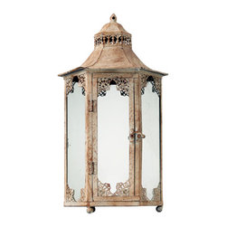 Sterling Industries - Vintage Lantern in Cream - Metal vintage candle lantern in Chauncey distressed cream finish; gazebo style roof. Tall hexagon hurricane style enclosure will accentuate your favorite candles of most any size. Display anywhere; set on a sofa or end table; hang from a plant hook or bar; part of the Restoration Collection from Sterling Home. 9 inches x 9 inches x 17 inches tall.