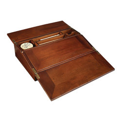 Authentic Models - Authentic Models MG076F Campaign Lap Desk, French Finish - French finish distressed, bronze hinges, secret hiding spots, special place for inkwells, styluses and lots of papers. Accessories include two belle epoque styluses and bottle of black ink. Classic campaign accessory.