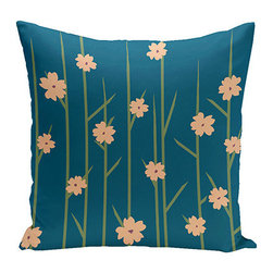e by design - Floral Branches Teal 16-Inch Cotton Decorative Pillow - - Decorate and personalize your home with coastal cotton pillows that embody color and style from e by design  - Fill Material: Synthetic down  - Closure: Concealed Zipper  - Care Instructions: Spot clean recommended  - Made in USA e by design - CPO-NR5-Branches_Flowers_Teal-16
