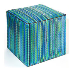 Fab Habitat - Cancun Pouf, Turquoise & Moss Green - Scatter these handy cubes indoors or out as extra seats or side tables. The cover is handmade from recycled polypropylene and filled with polystyrene, for long-lasting comfort and color retention. These colorful, striped cubes adapt easily to any decor, adding a festive touch to the pool, patio or playroom. They even stack easily for storage.