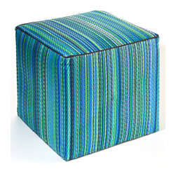Fab Habitat - Cancun Pouf, Turquoise and Moss Green - Scatter these handy cubes indoors or out as extra seats or side tables. The cover is handmade from recycled polypropylene and filled with polystyrene, for long-lasting comfort and color retention. These colorful, striped cubes adapt easily to any decor, adding a festive touch to the pool, patio or playroom. They even stack easily for storage.