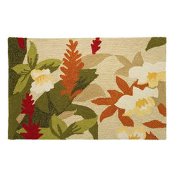 Contemporary Exotic Beauty Area Rug - The Exotic Beauty area rug Collection offers an affordable assortment of Contemporary stylings. Exotic Beauty features a blend of natural Green-Beige color. Hand Hooked of Polyester the Exotic Beauty Collection is an intriguing compliment to any decor.