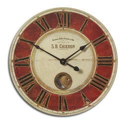 "Uttermost - Sepia Vintage Wall Clock with Internal Pendulum 23"" - Weathered  Vintage  S.B.  Chieron  Clock  23          Vintage  Clock  with  crackled  and  weathered  clock  face  on  wood  laminate.  The  outer  rim  is  constructed  from  antiqued  nickel-plated  cast  brass.  Includes  an  internal  pendulum.  S.B.  Chieron  style  clock  with  black  roman  numerals.  Requires  1-AA  battery."