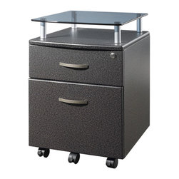 RTA Products - Techni Mobili Rolling Glass Top File Cabinet - Graphite - The Techni Mobili Rolling Glass Top File Cabinet features a heavy-duty 8 mm tempered safety glass shelf on scratch-resistant powder-coated steel supports. This stylish pedestal with a locking top drawer and a lower hanging file drawer provides secure storage. 5 casters offer additional support and easy mobility. It is made with heavy-duty engineered wood panels with a moisture resistant PVC laminate veneer.