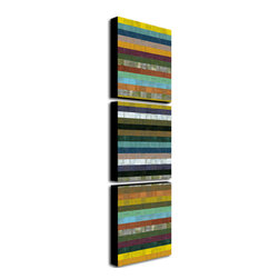 Trademark Art - Michelle Calkins Wooden Abstract XI - 3 Panel - Gallery Wrapped Canvas Art. Canvas wraps around the sides and is secured to the back of the wooden frame. Frameless presentation of the finished painting. 18 in. L x 24 in. W x 2 in. D (4 lbs.)
