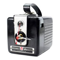 Vintage Brownie Hawkeye Flash Camera Clock - The beautiful clock is designed of an original vintage Brownie Hawkeye camera
