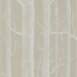 Cole & Son - Cole & Son Woods White and Taupe Wallpaper (Single Roll) - Wallpaper CalculatorAll of the rich, majestic beauty of the outdoors without any of the leaves and mess. The luxurious, modern Woods 12149 Wallpaper by Cole & Son boasts a large-scale, sophisticated image of trees with rich, modern colorings. Cole & Son is the definitive source of high-art, luxury wallpaper design and printing. Not only is Cole & Sons wallpaper found in places like the White House and Buckingham Palace, but the traditional printing methods from 1875 yielding unique and rich textures are practices that their craftsmen still hold onto. The contemporary adaptations and coloring that their Design Studio provides to their archive of approximately 1,800 block print designs, 350 screenprint designs and a huge quantity of original drawings and wallpapers, representing all the styles from the 18th, 19th and early 20th centuries, it is no surprise top designers like Tom Dixon, Pierro Fornasetti, and Vivienne Westwood all boast collaborative collections with them.
