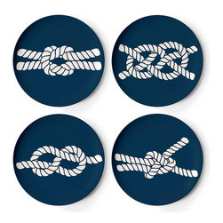 Frontgate - Set of Four Scrimshaw Coasters - Melamine is shatterproof and ideal for outdoor entertaining. Dishwasher safe. Do not use in the microwave, or place on direct heat. Not recommended for use with sharp knives. Our Scrimshaw Melamine Dinnerware by thomaspaul takes casual tableware in a new direction. A fun mix of nautical designs, this durable collection is perfect for an alfresco party, and stylish enough to use indoors as well.. . . .