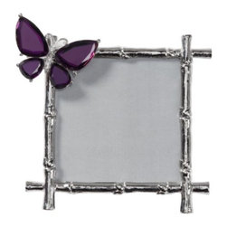 Z Gallerie - Butterfly Jeweled Frame - Our upbeat and fanciful Butterfly Jeweled Frame is truly a treasure. The silver metal frame have all the markings of a bamboo stalk and is accented with a lovely mirrored butterfly alighting on the upper corner. The mirrored butterfly is beveled at the edges for a dressier look, and secured to its frame with sturdy prongs.