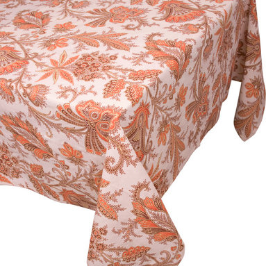 """Enchante Accessories Inc - Raymond Waites Round Table Cloth - 70"""" Diam. (Patras 5) - Premium quality 100% cotton table linen with finished seamExpertly tailored with high quality cotton linenMachine wash in cold with like colors, colors do not bleedFloral patterns with elegant vintage styleMatching napkins availableElegant and functional, these tablecloths serve to dress a table, and to protect it from scratches. Use on dining room tables, banquet tables and restaurants. We carefully select high-quality fabrics and threads to create every table linen. Made from natural materials and dip-dyed with non-toxic dye, the reactive dyeing process makes the table linens a beautiful and solid color while maintaining their natural softness.These gorgeous floral prints invite lively conversations for brunch, lunch, garden parties and casual dining. Made in India of 100% cotton, in deep colors as shown, these exciting tablecloths are beautifully finished with fine printed elegant patterns.These high quality cotton table linens have a wonderfully vintage feel and are a great way to enhance your dining room setting.The Table cloths come in a variety of patterns and colors. They come packaged in a protective plastic button sealed case."""