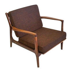 Used Danish Modern IB Kofod Larsen Walnut Lounge Chair - A beautiful example of Danish modern design, a walnut IB Kofod Larsen lounge chair. The chair is in excellent vintage condition with original brown hopsack / tweed-like fabric, only minor wear to commensurate with age!