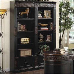 Coaster Nicolas Carved Combination Bookcase in Dark Wood