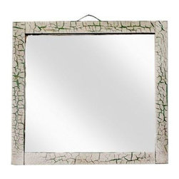 """Pre-owned Antique Crackle Finish Beveled Mirror - This antique beveled mirror has an old wood frame finished with crackling white paint that reveals green tones below.  A nice beveled mirror and rustic wood back with metal """"rope"""" hanger. In good condition with some light scratching and wear around the edges of the mirror glass."""